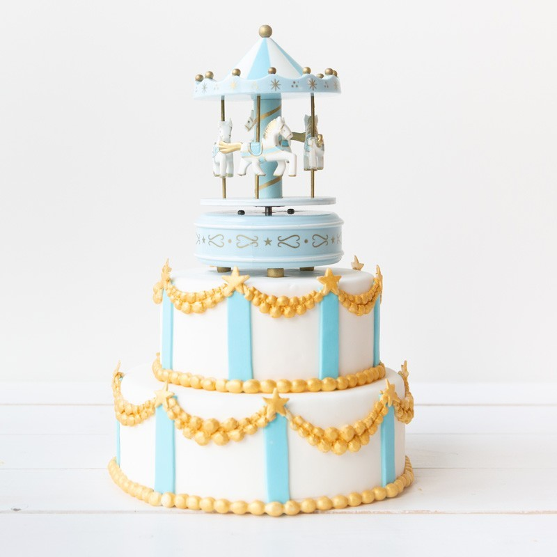 Geboortetaart Carrousel jongen blauw - Bakeronline