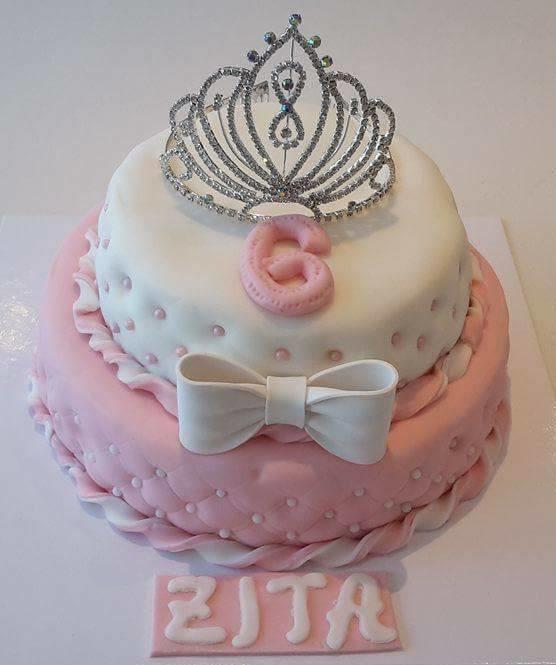 Prinsessetaart met zilveren kroontje 2 verdiepingen 18 personen - Bakeronline
