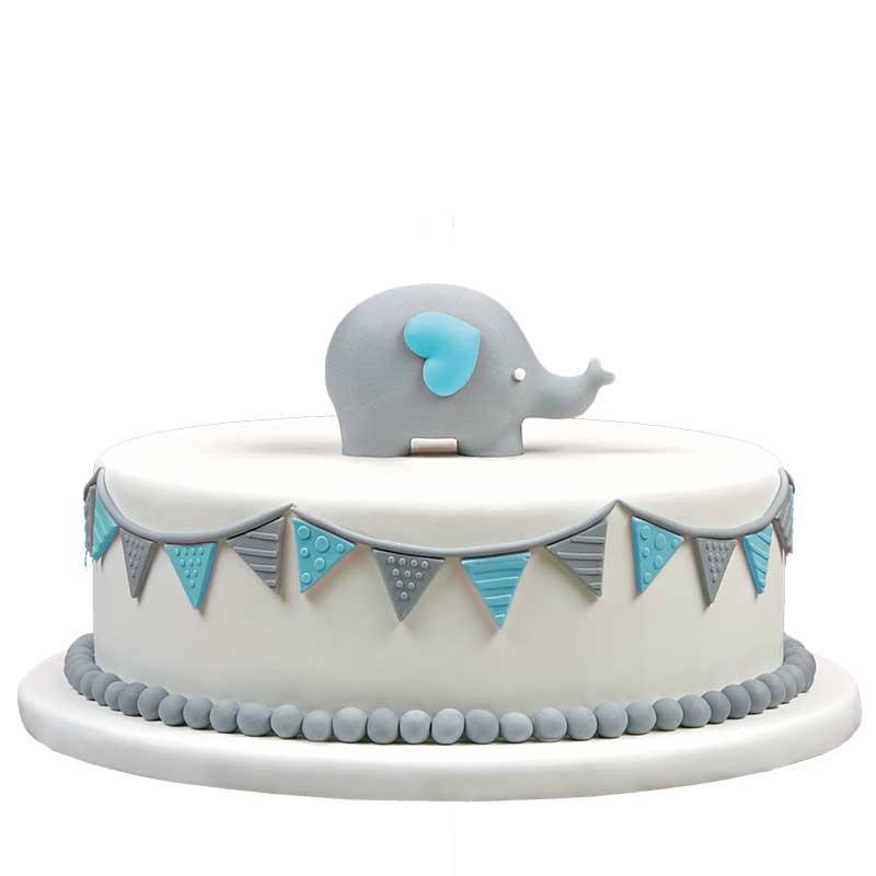 Geboortetaart olifantje jongen blauw - Bakeronline