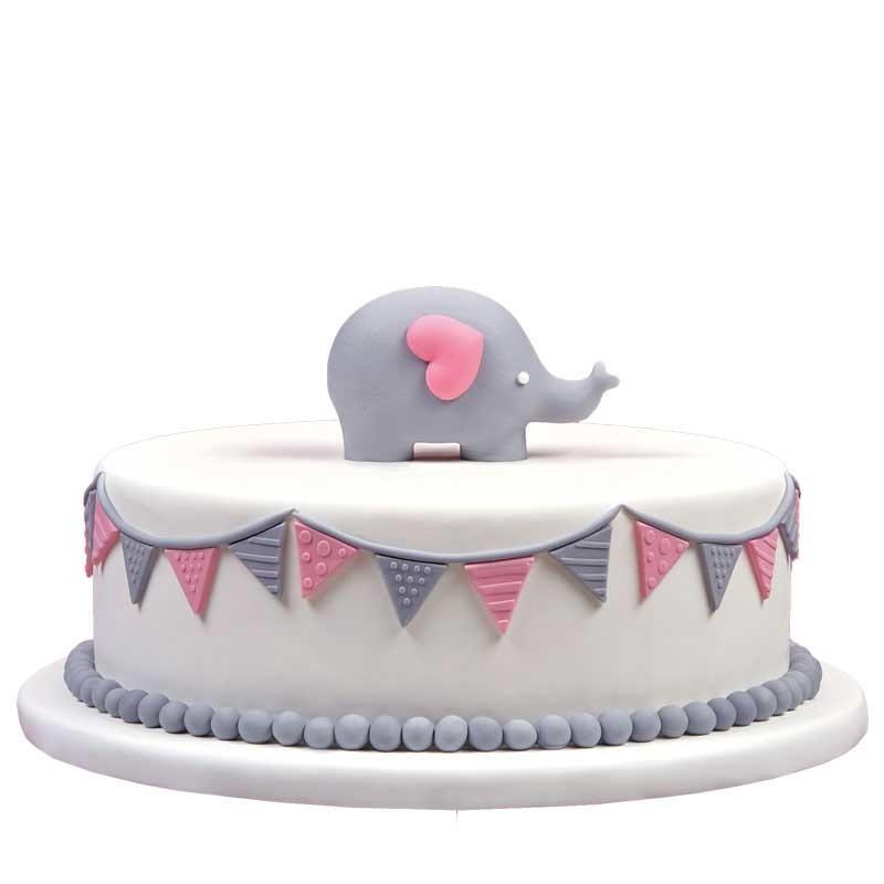 Geboortetaart olifantje meisje roze - Bakeronline
