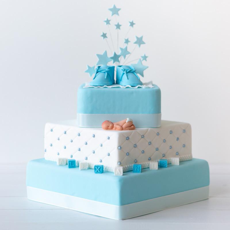 Luxe geboortetaart stapeltaart - Bakeronline