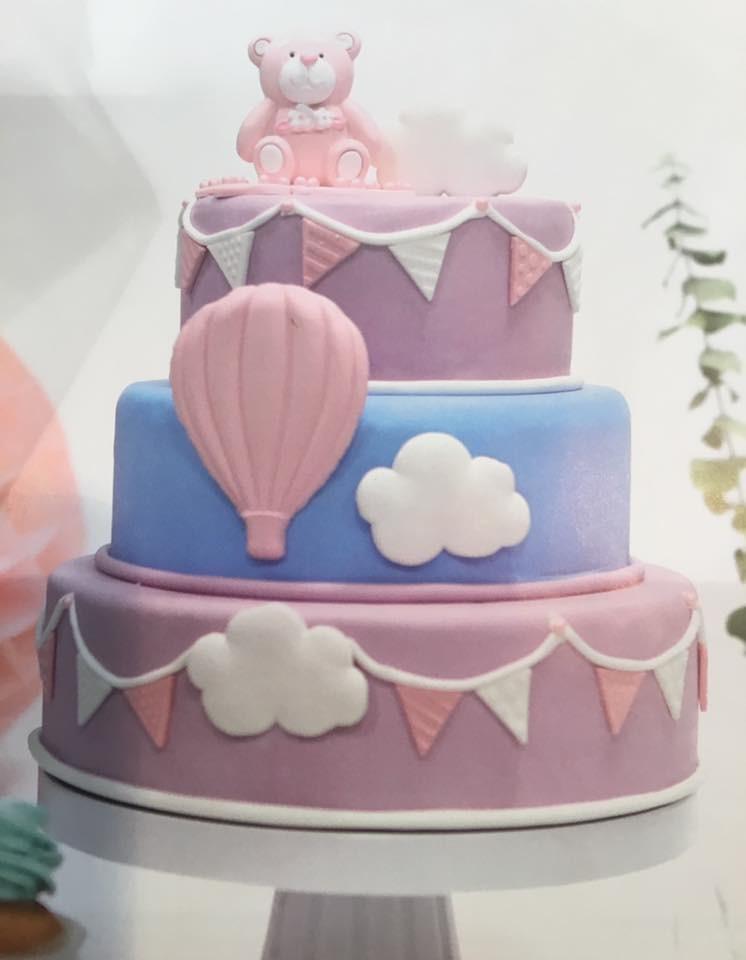 Geboortetaart beertje meisje (roze beer) - Bakeronline